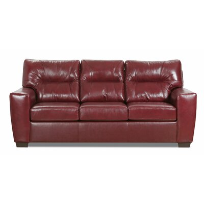 Oleary Leather Sofa Bed Williston Forge Upholstery Color: Crimson
