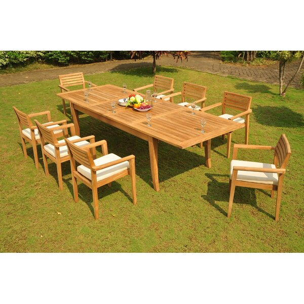 Marietta 9 Piece Teak Dining Set by Rosecliff Heights