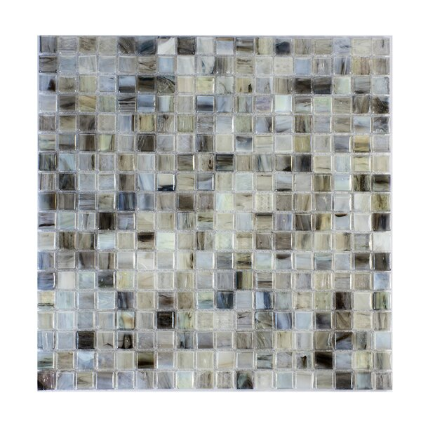 Piazza 0.5 x 0.5 Glass Mosaic Tile in Gray by Byzantin Mosaic