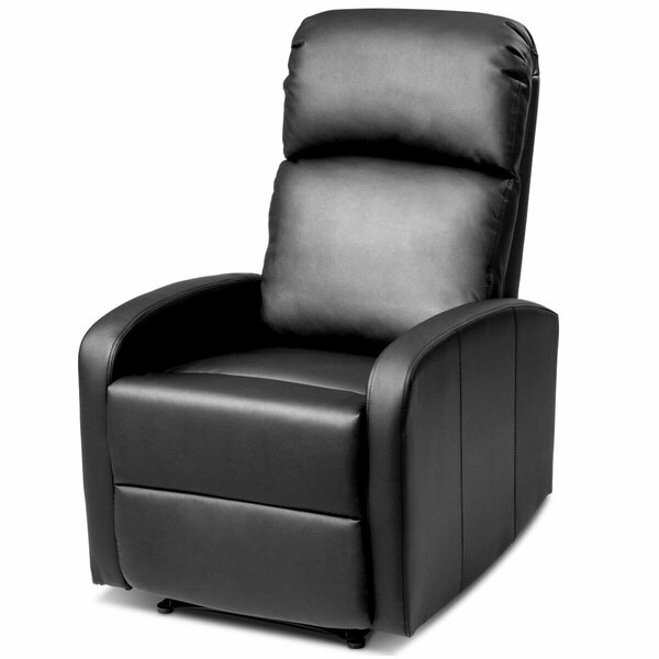 Stapleton Massage Recliner Chair PU Leather Padded Seat Ergonomic Lounge Foldable Footrest [Ebern Designs]
