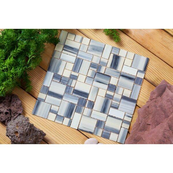 Stella 12 x 12 Glass Mosaic Tile in Creamy Yellow/Gray by Mirrella