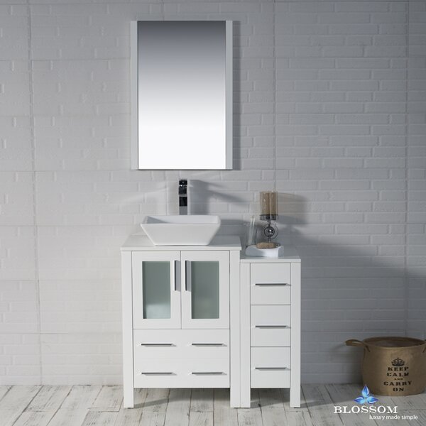 Mance 36 Single Bathroom Vanity Set with Wood Framed Mirror by Orren Ellis