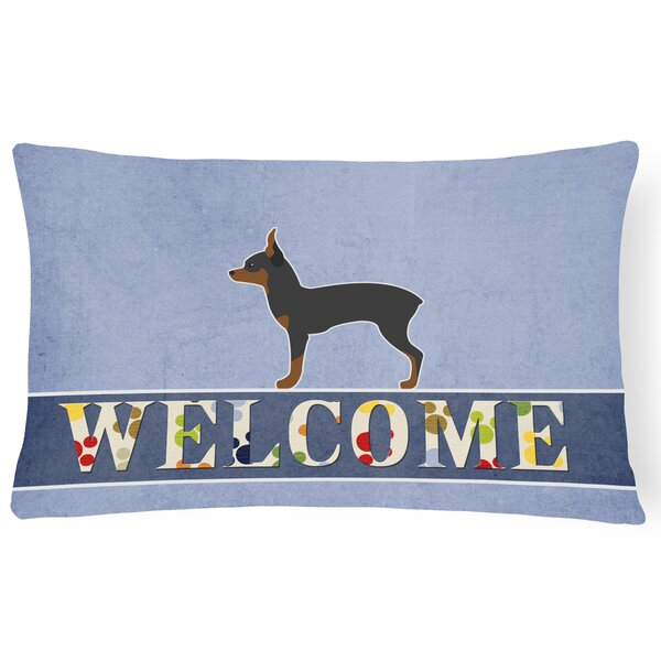 Phyllis Toy Fox Terrier Welcome Lumbar Pillow by Red Barrel Studio