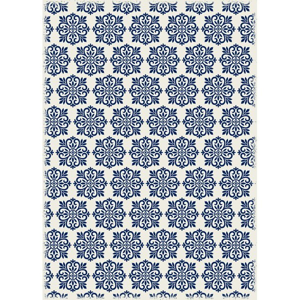 Classen Modern European Design Blue/White Indoor/Outdoor Area Rug by Bungalow Rose