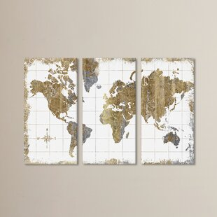 World map wall art gilded map graphic art print multi piece image on canvas gumiabroncs Images
