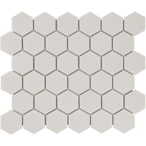 Barcelona Hexagon Matte 2.32 x 2.32 Porcelain Mosaic Tile in White by The Mosaic Factory