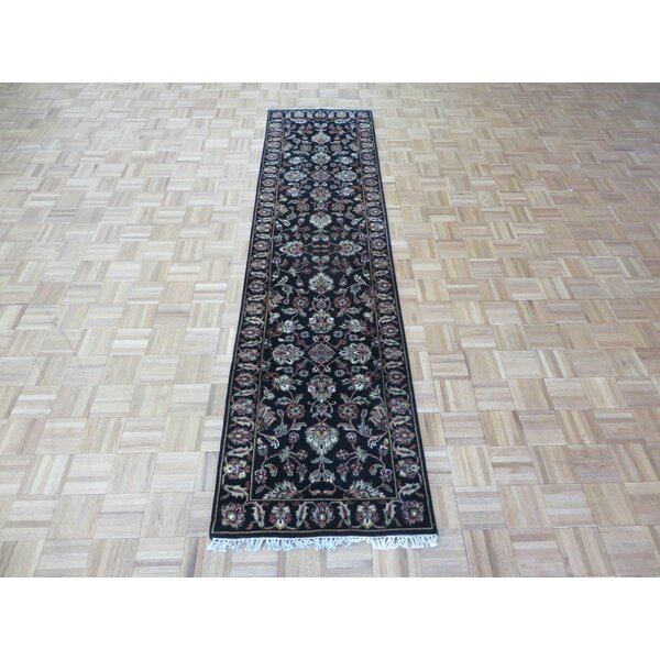 One-of-a-Kind Railey Hand-Knotted Black Area Rug by Astoria Grand