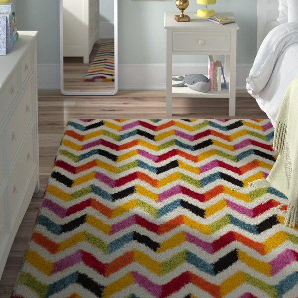 Kids Yellow/Red Area Rug by Viv + Rae