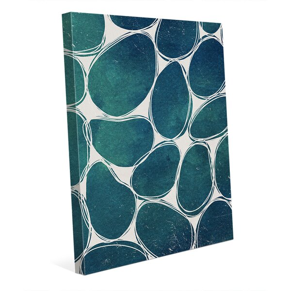 Cobblestones Aqua Graphic Art on Wrapped Canvas by Click Wall Art