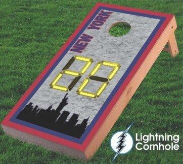 Electronic Scoring New York Skyline Cornhole Board by Lightning Cornhole
