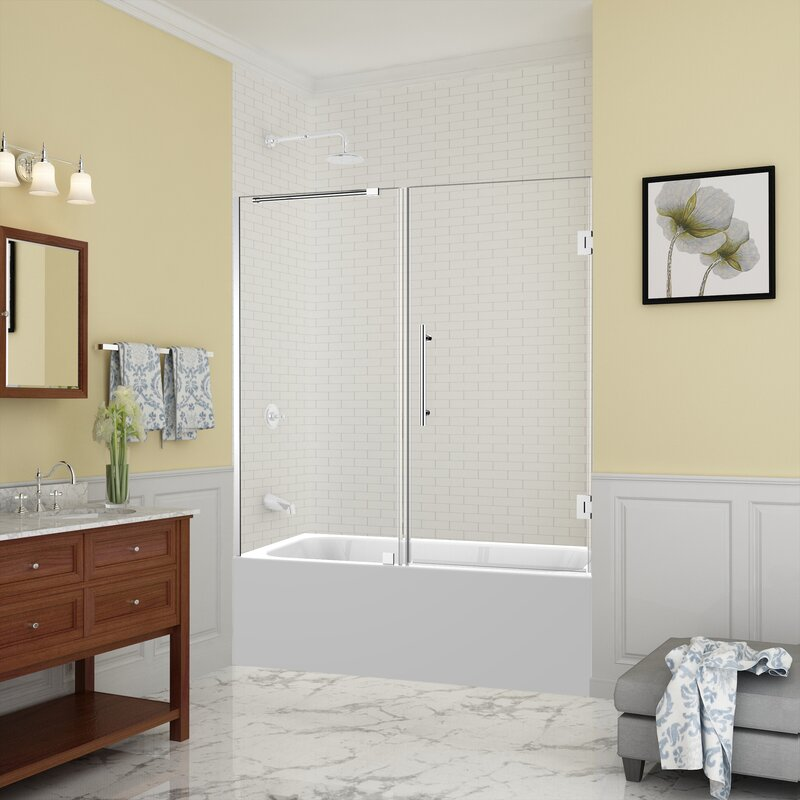 "aston belmore 60"" x 60"" hinged frameless tub door"
