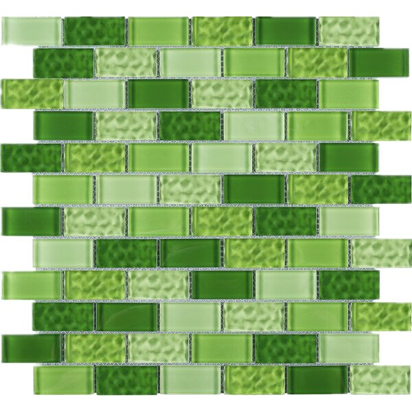 Cockles 1 x 2 Glass Mosaic Tile in Green by Multile