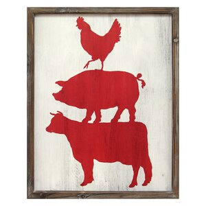 'Cow Pig and Rooster' Framed Graphic Art by Stratton Home Decor