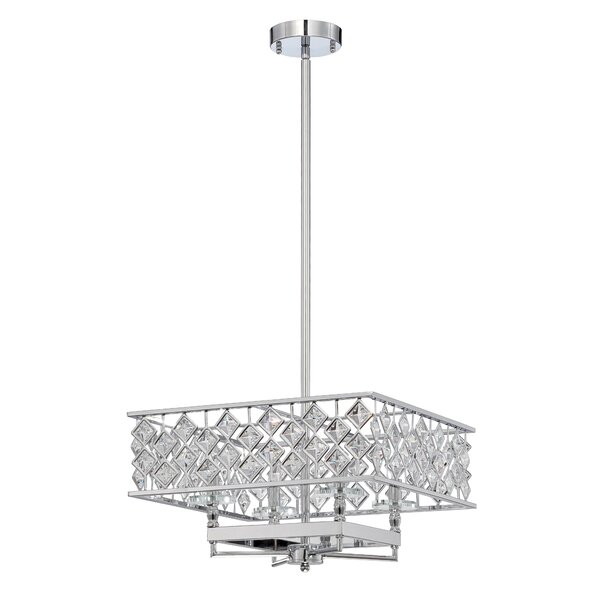 Rennes 4-Light Unique / Statement Rectangle / Square Chandelier By Orren Ellis