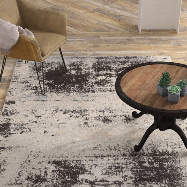 Hegarty Distressed Abstract Taupe/ivory Area Rug By Williston Forge.