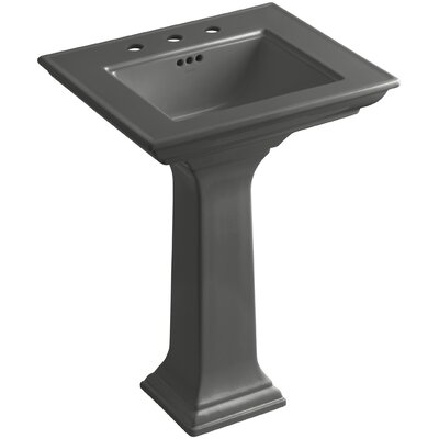 Pedestal Sink Ceramic Overflow Sink Thunder Faucet Mount 847 Product Image