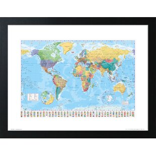 Framed world map wayfair world map framed graphic art print gumiabroncs