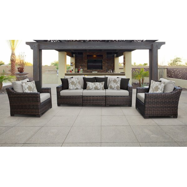 River Brook 6 Piece Outdoor Wicker Patio Furniture Set 06r by kathy ireland Homes & Gardens by TK Classics