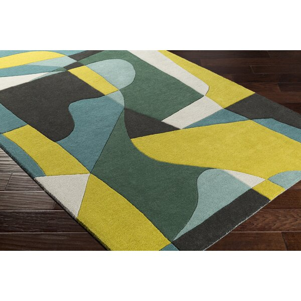 Dewald Hand-Tufted Green/Yellow Area Rug by Ebern Designs