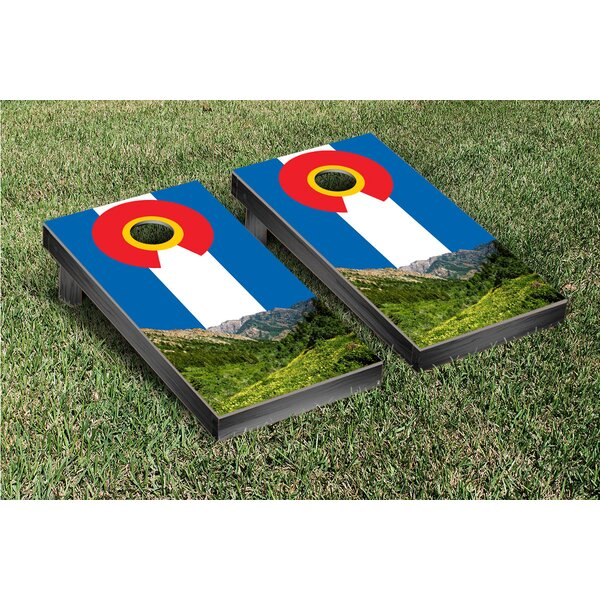 Colorado Flag and Mountain Themed Cornhole Game Set by Victory Tailgate