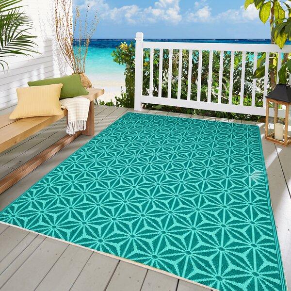 Orbisonia Geometric Indoor / Outdoor Aqua Blue Area Rug