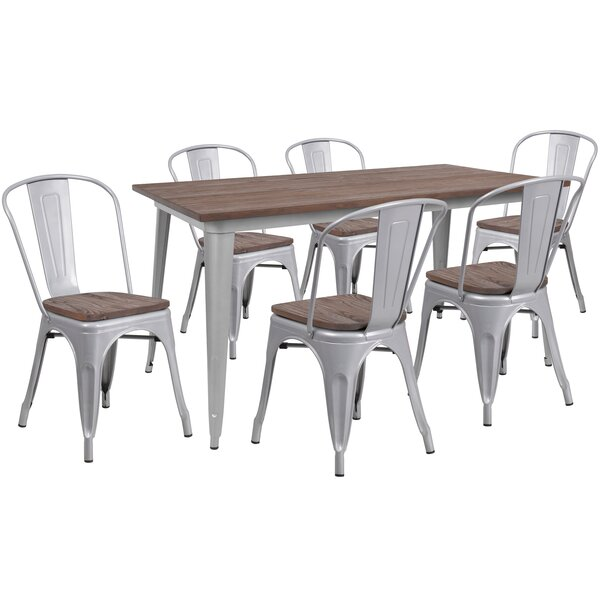Proffitt 7 Piece Solid Wood Dining Set by Williston Forge