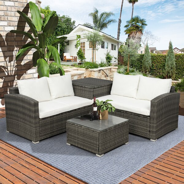 Altine 4 Piece Rattan Sectional Seating Group with Cushions by Latitude Run
