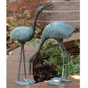 Stately Garden Cranes Statue (Set Of 2)