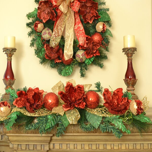 Magnolia Christmas Swag with Ornament by Floral Home Decor