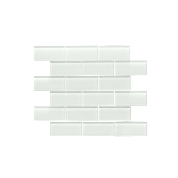 Premium Series 2 x 4 Glass Subway Tile in Glossy White by WS Tiles