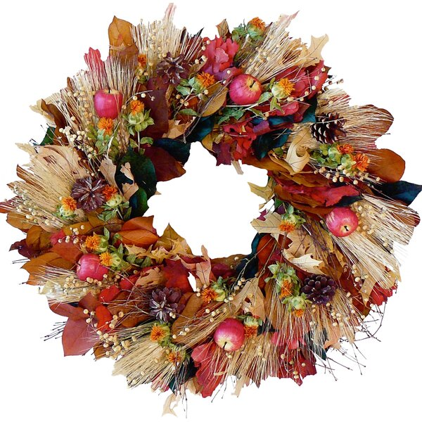 Harvest Apple and Wheat 22 Wreath by Dried Flowers