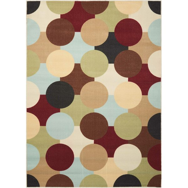 Deonna Red/Green Area Rug by Ebern Designs