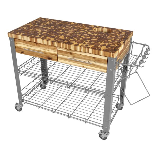 Zephyrine Kitchen Cart with Butcher Block Top by Millwood Pines