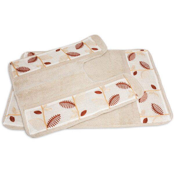 Alysia 2 Piece Leaf Banded Bath Rug Set by Sweet Home Collection