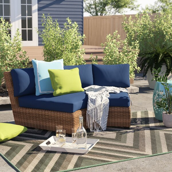 Waterbury Curved Armless Patio Sofa with Cushions by Sol 72 Outdoor Sol 72 Outdoor