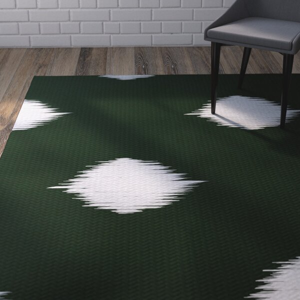 Urbina Decorative Holiday Ikat Print Dark Green Indoor/Outdoor Area Rug by Wrought Studio