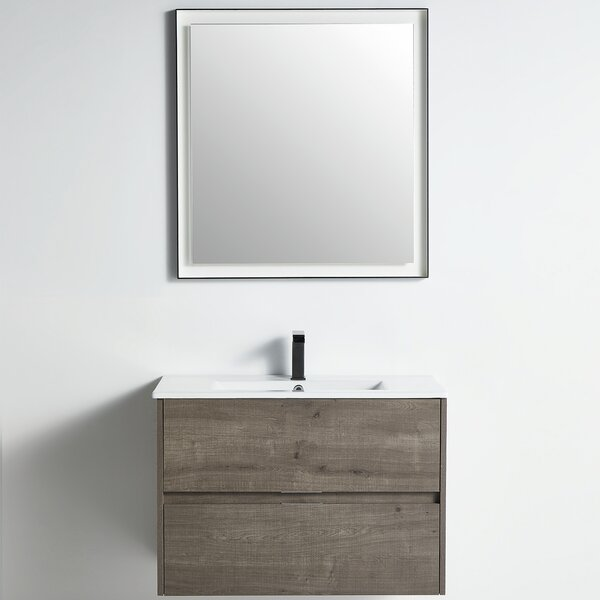Pridbjorn 31 Wall-Mounted Single Bathroom Vanity Set with Mirror