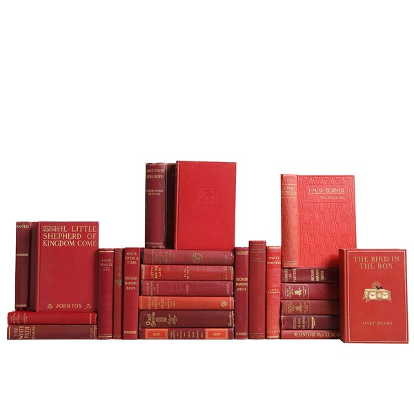 Authentic Decorative Books - Custom Set Vintage Novel Collection: Crimson & Gilt Books , Set of 25 by Booth & Williams