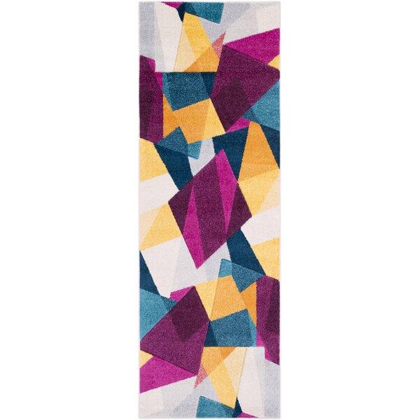 Bieker Modern Geometric Purple/Blue Area Rug by Ebern Designs