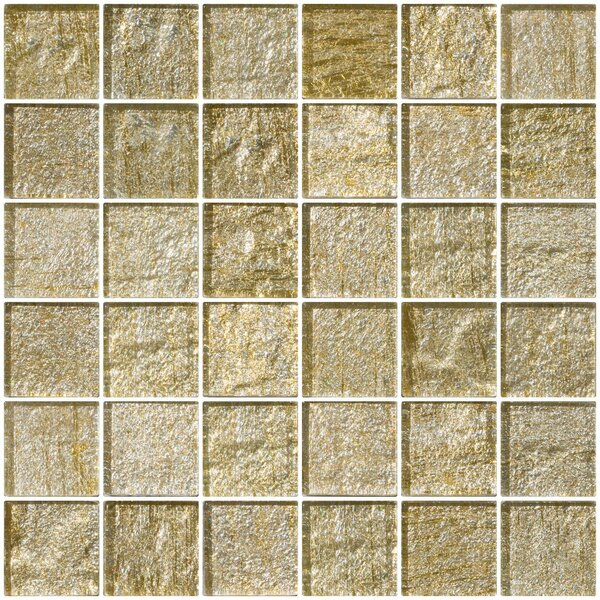 2 x 2 Glass Mosaic Tile in Gold/Silver by Susan Jablon