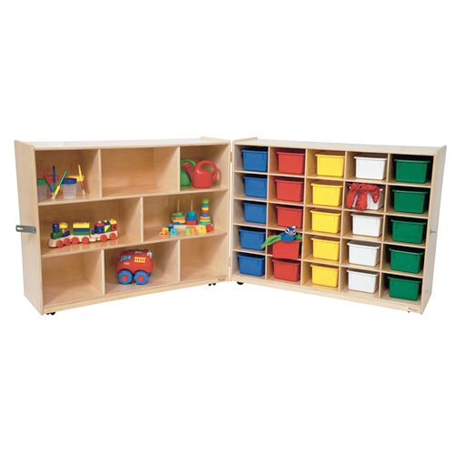 Shelf Folding Storage 25 Compartment Cubby with Trays by Wood Designs