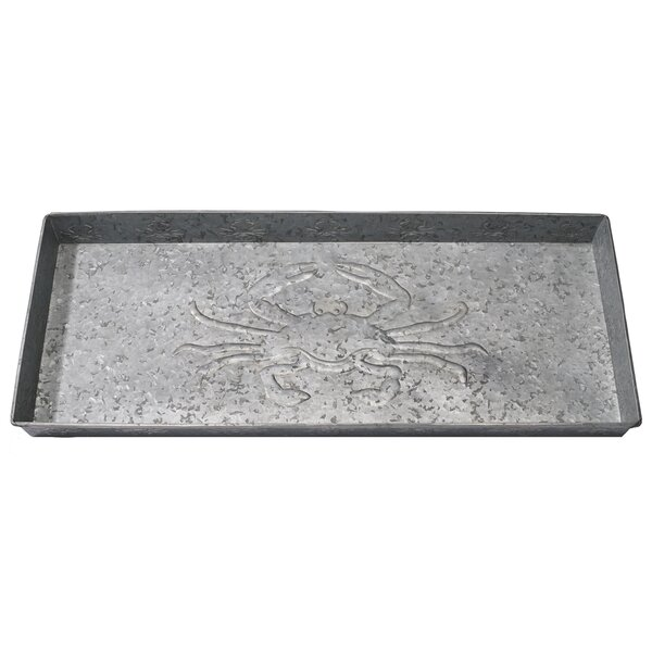 Crab Rectangle Galv Serving Tray by Home Furnishings by Larry Traverso