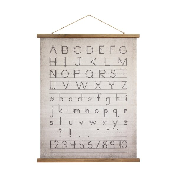 Holler Alphabet and Numbers Wood Scroll Banner by Williston Forge