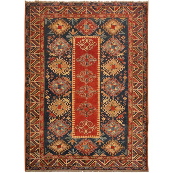 One-of-a-Kind Isabelle Super Kazak Hand-Knotted Wool Red/Blue Area Rug by Astoria Grand