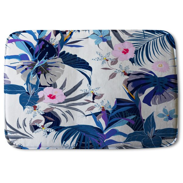 Torrens Winter Tropical Designer Rectangle Non-Slip Floral Bath Rug