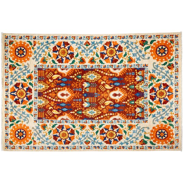 One-of-a-Kind Suzani Hand-Knotted Brown/Blue/Orange Area Rug by Darya Rugs