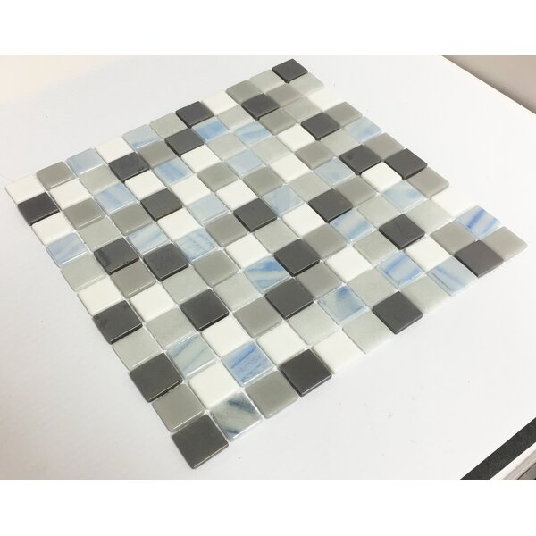 Signature Line 1 x 1 Glass Mosaic Tile in Brown by Susan Jablon