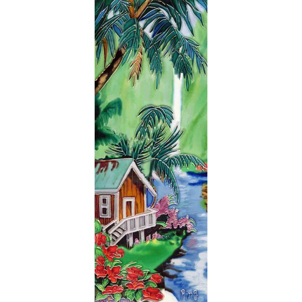 Tropical House Painting Tile Wall Decor by Continental Art Center