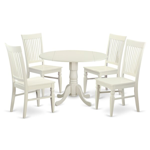 Spruill 5 Piece Drop Leaf Solid Wood Wood Dining Set by August Grove