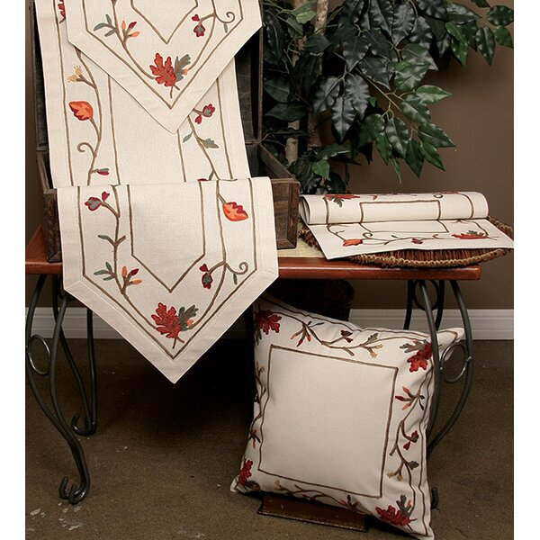 Harvest Vine Crewel Embroidered Harvest Cotton Pillow Cover by Xia Home Fashions